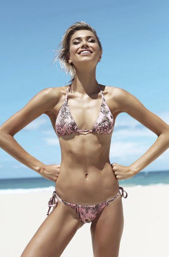 Micro Tri Pant - Pink Watersnake -Bikini- White Sands Swimwear by Leah Madden