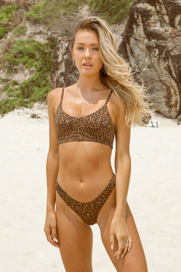 Byron Top - Leopard -Top- White Sands Swimwear by Leah Madden
