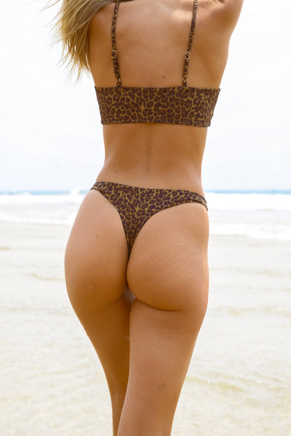 Byron Thong - Leopard -Separates- White Sands Swimwear by Leah Madden