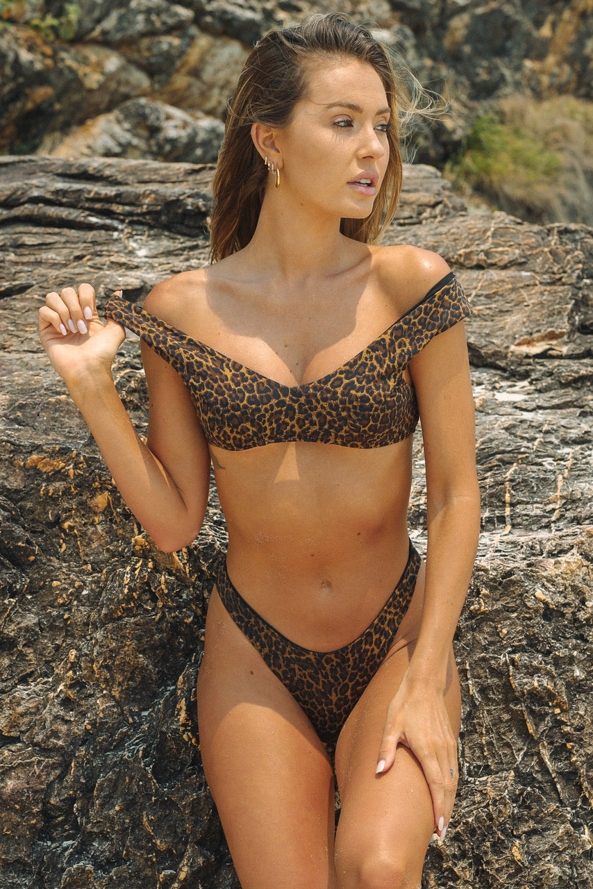 Bondi Top - Leopard -Top- White Sands Swim by Leah Madden