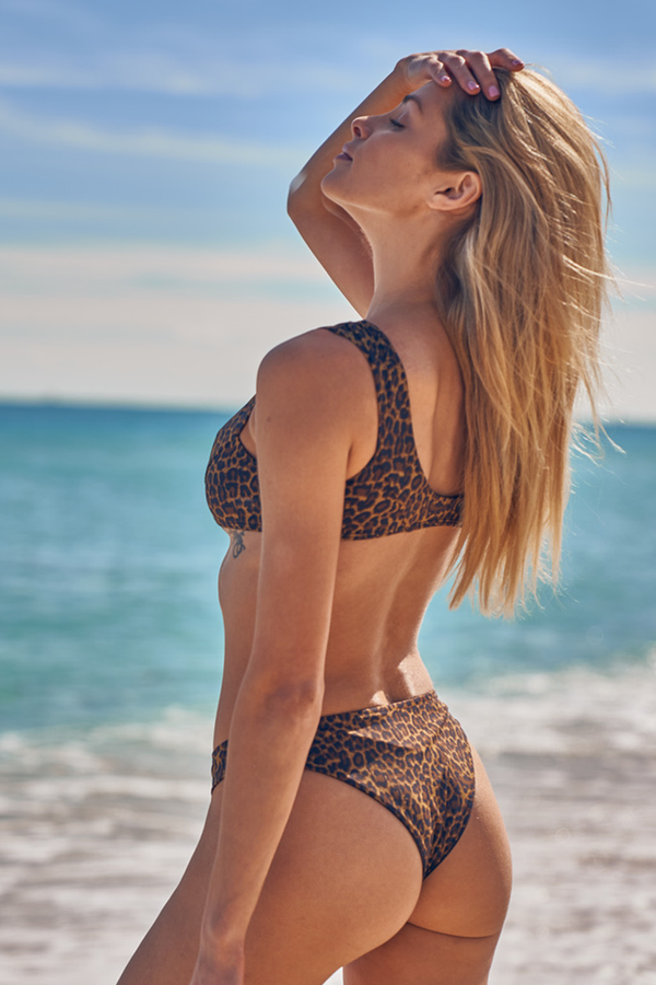 Bondi Top - Leopard -Top- White Sands Swimwear by Leah Madden