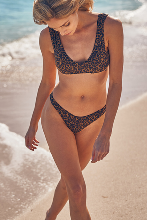 Byron Thong - Leopard -Separates- White Sands Swim by Leah Madden