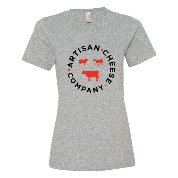 WOMEN'S GRAY T SHIRT (red and black logo)