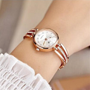 JW Luxury Rhinestone Stainless Steel Round Quartz