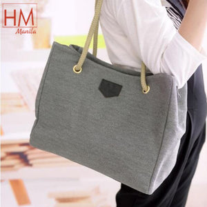 Korean Simple Hemp Canvas Shoulder Bag