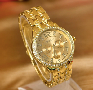 HM LUXURY Rhinestone Crystal GOLD Watch