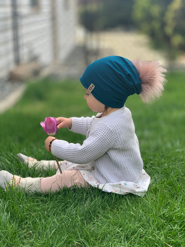 Moroccan Toddler Kicking Horse Beanie w/ rose pom