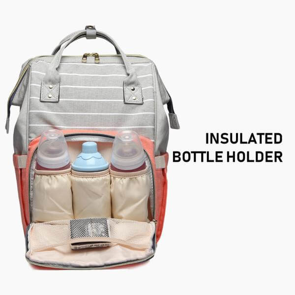 baby diaper bag with insulated bottle holder