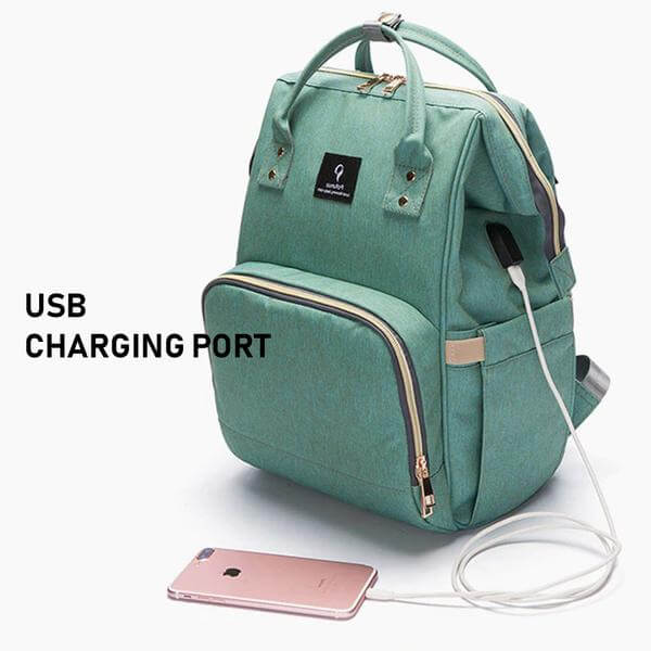 diaper bag with USB charging port