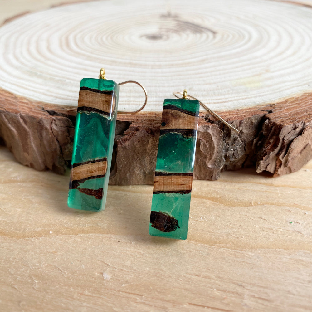 Resin & Wood Dangle Earrings | Short