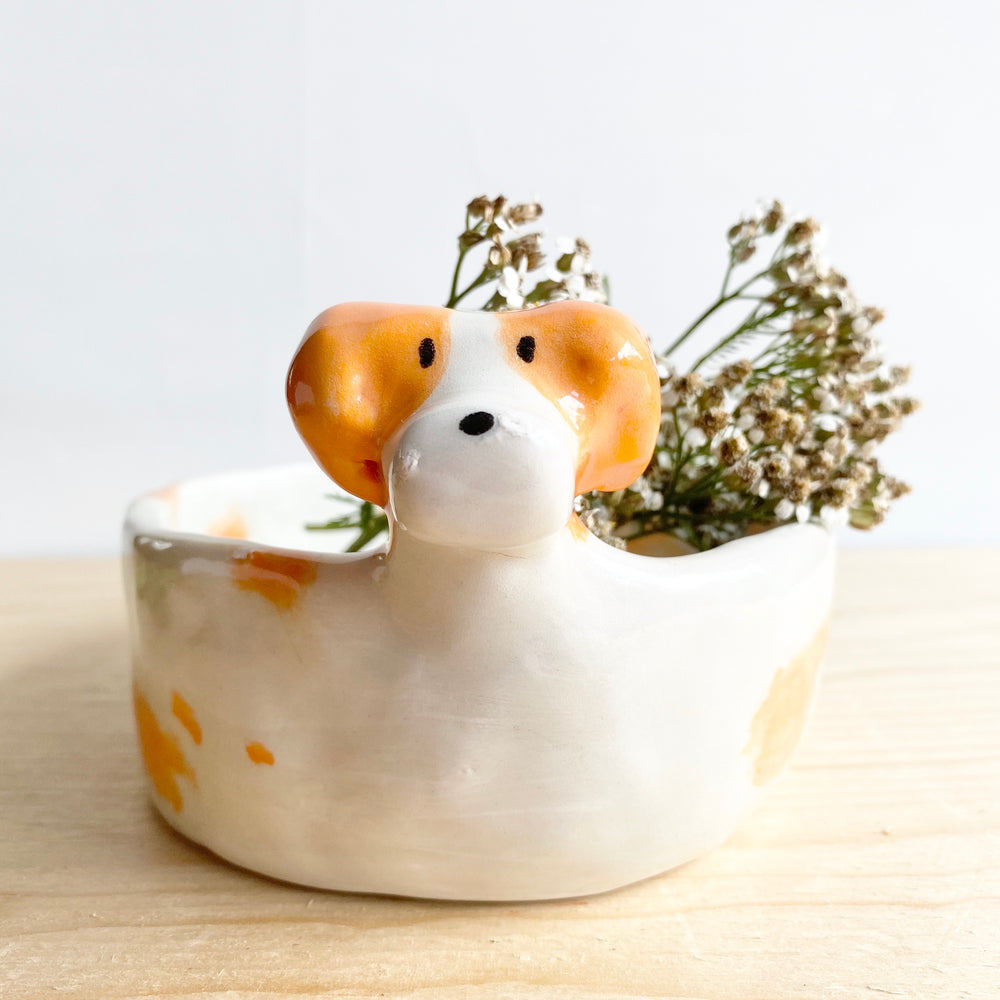 Large Ceramic Spaniel Catchall | Planter
