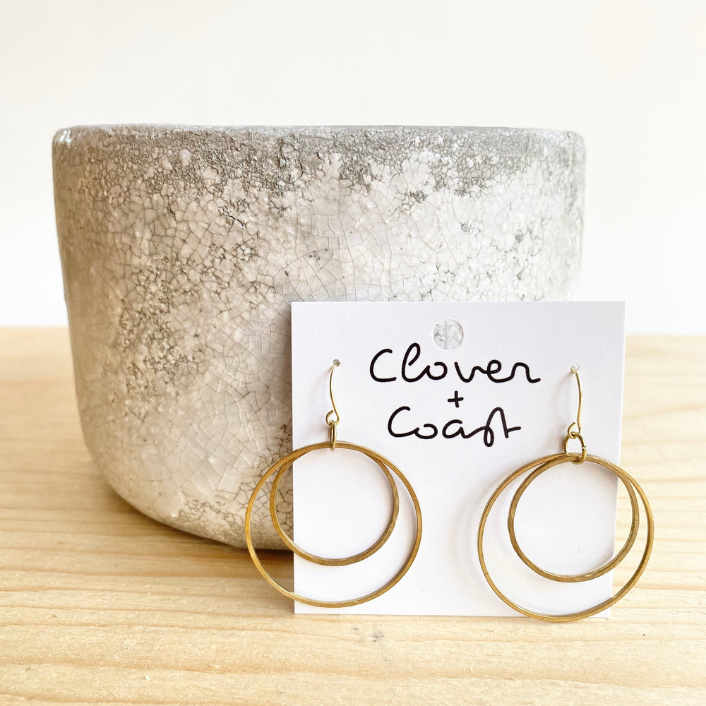 Double Circle Brass Earrings