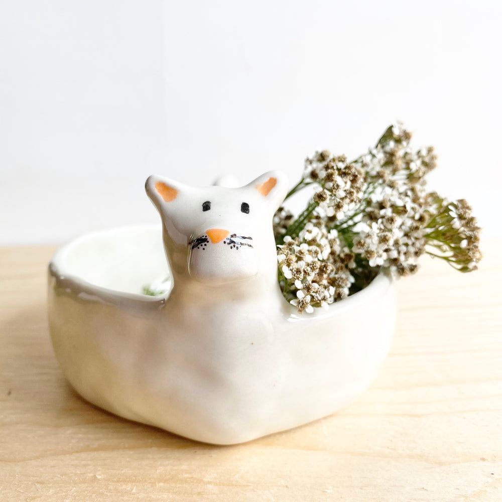 Large Ceramic Cat Catchall | Planter