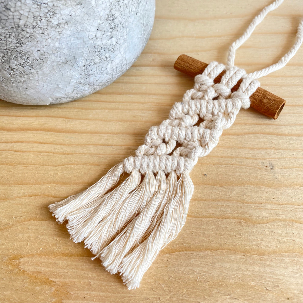 Macrame Car Diffuser With Cinnamon Stick (More Options)