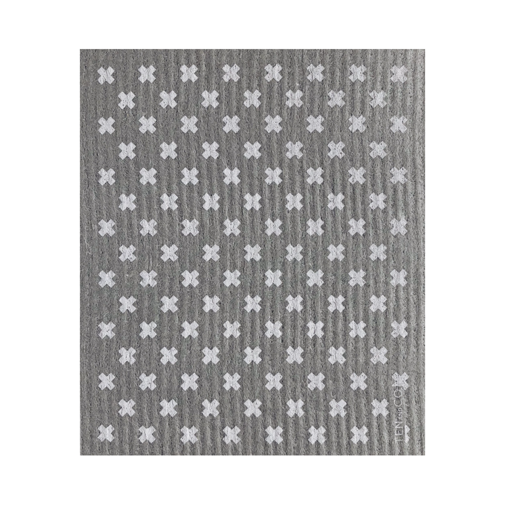 Tiny X Grey + White Sponge Cloth | Ten and Co.