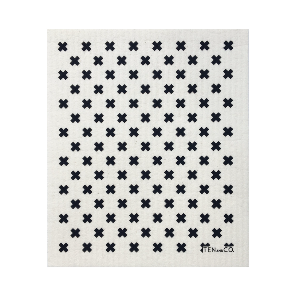 Tiny X Black + White Sponge Cloth | Ten and Co.
