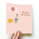 Wine Hearts Cheese Happy Birthday Card & Socks | For Her