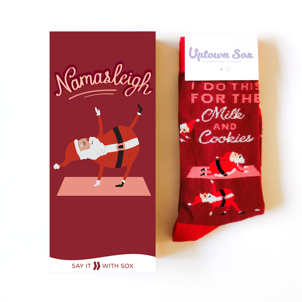 """Say it with Sox"" Yoga Santa Christmas Card & Socks 