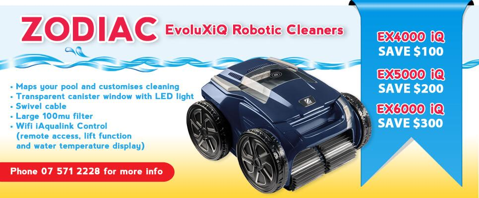 Zodiac EvoluXiQ Robotic Cleaners call The Pool Shop for more information