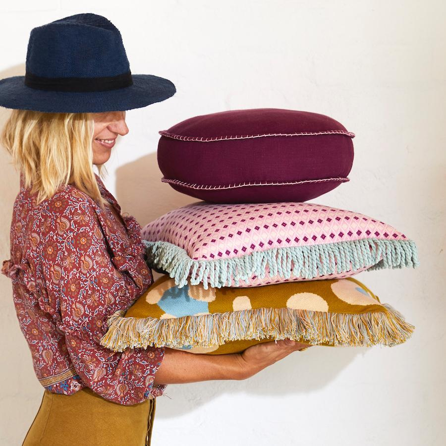 Rylie Cushion - Boysenberry-Sage & Clare-Lot 39 Store & Cafe