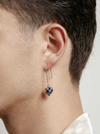 Georgia Earrings in Navy and Silver