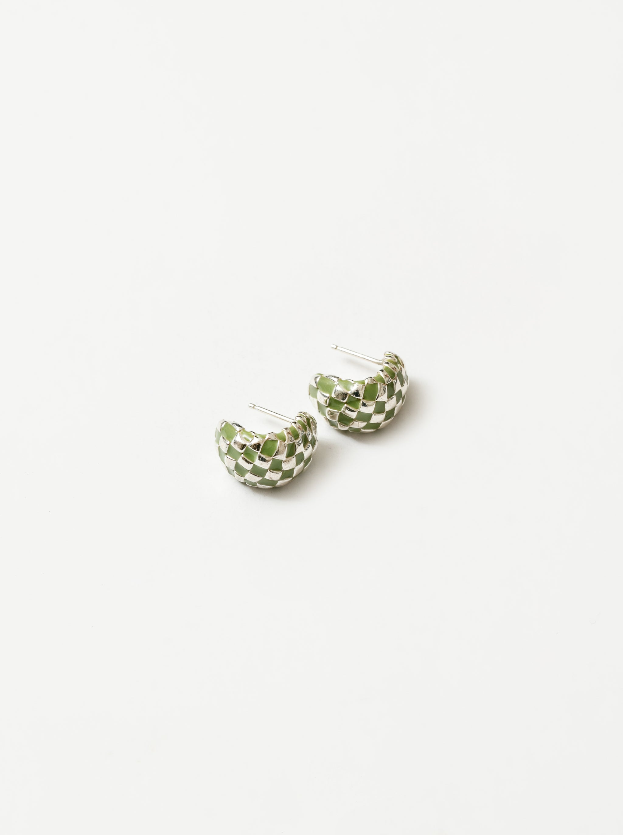 Nellie Earrings in Green and Silver