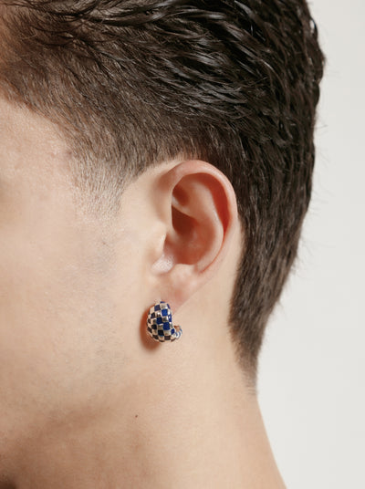 Nellie Earrings in Navy and Silver