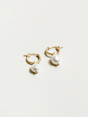 Small Pearl Hoops in Gold