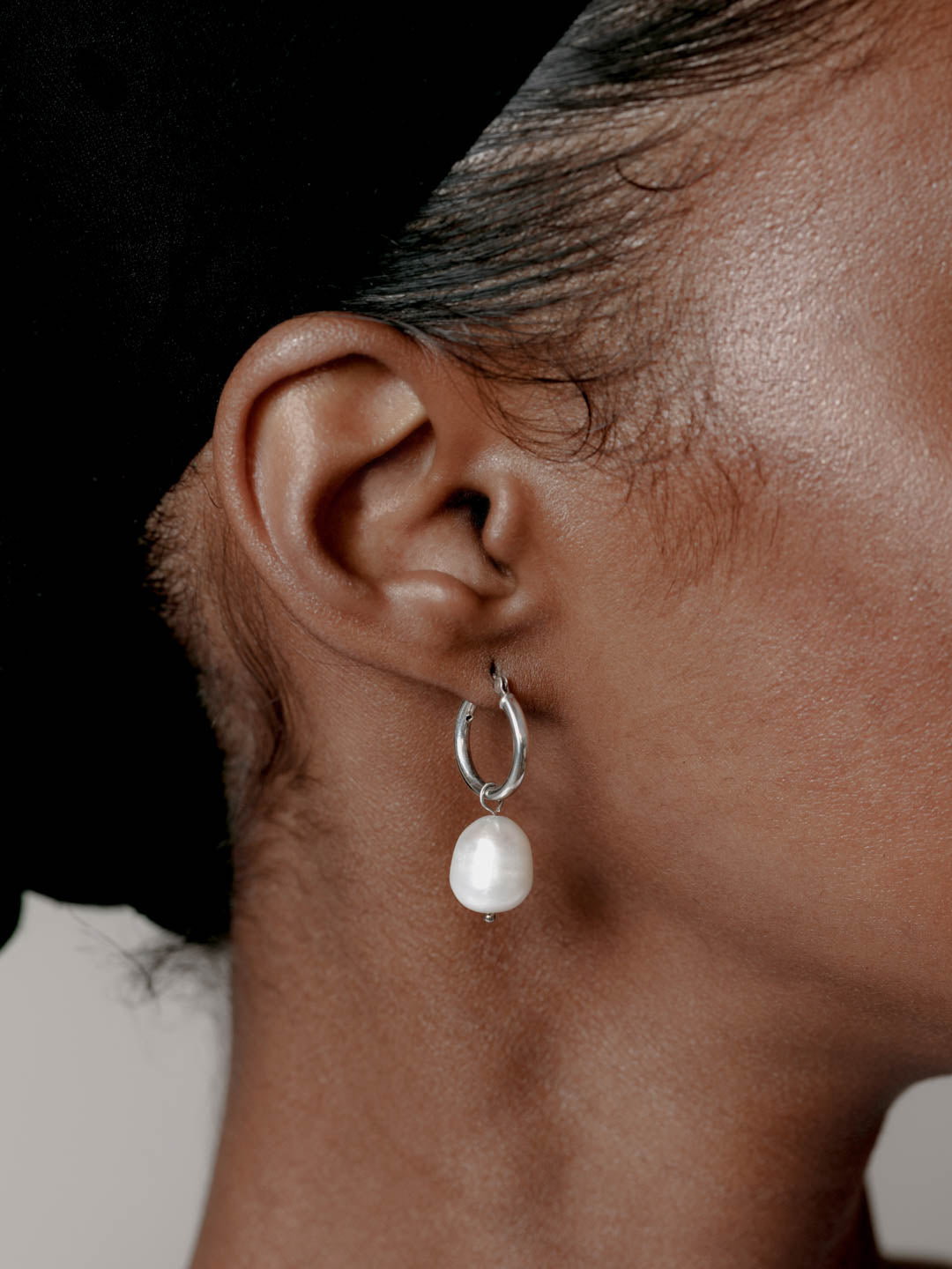 Small Pearl Hoops in Sterling Silver