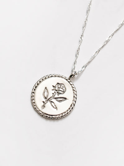 Rose Coin Necklace in Sterling Silver