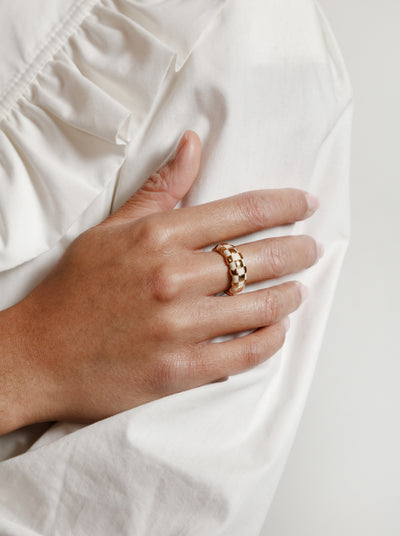 Libby Ring in Cream and Gold