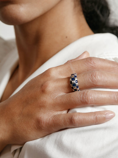 Libby Ring in Navy and Sterling Silver