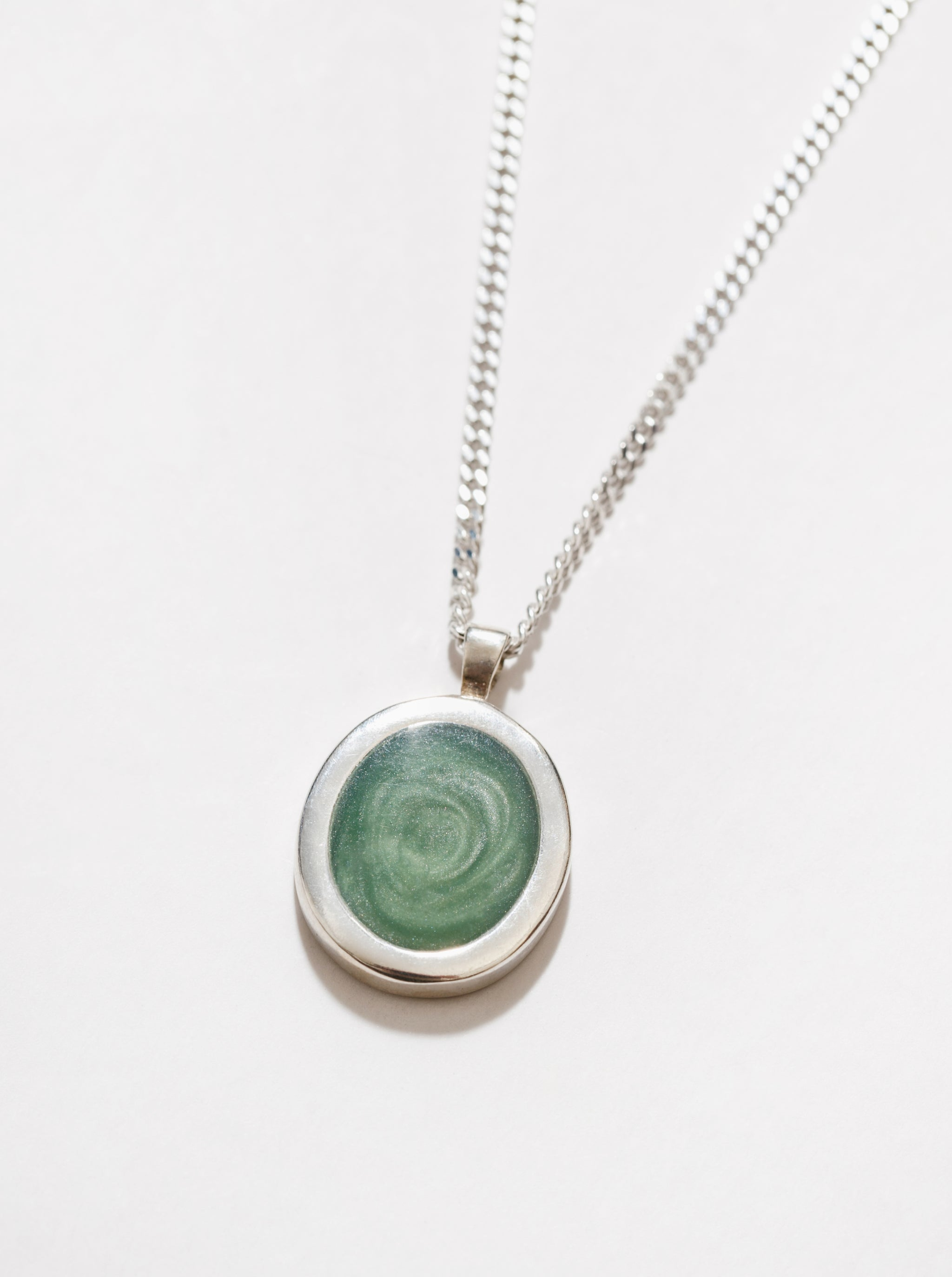 Tosh Necklace in Green and Sterling Silver