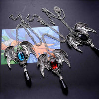 Women Necklace Crystal Vampire Vintage Bat Pendant Gothic Style Halloween Animal Jewelry