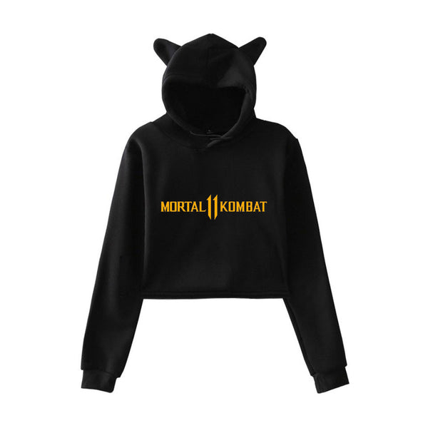 Women Mortal Kombat 11 Cat Ear Sweatshirt Cat Crop Top Casual Hoodies Sweatshirt