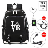 Harry Potter LOGO Backpack with USB Charging Port and Lock & Headphone Interface
