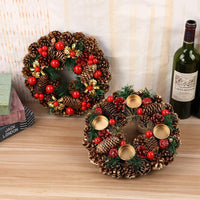 Christmas Artificial Wreath Green Branches with Pine Cones Red Berries Indoor/Outdoor Xmas Decoration