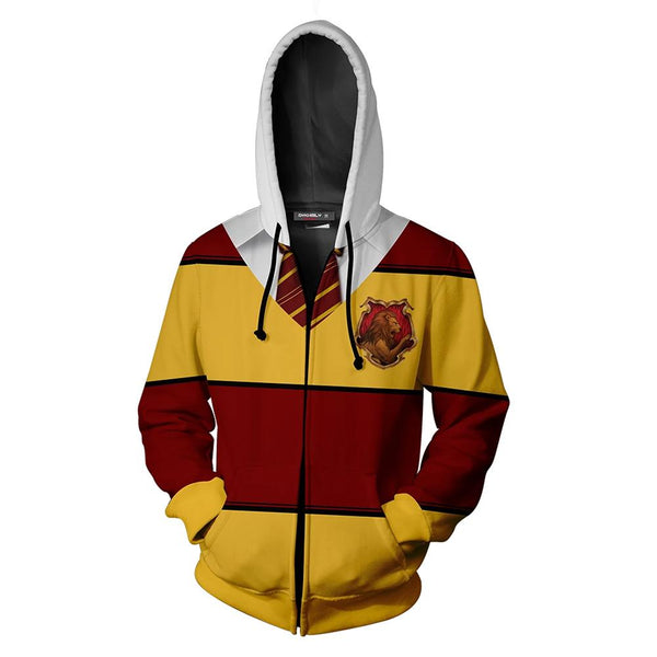 Unisex Harry Potter Hoodie Gryffindor House Cosplay Hooded Zip Up Sweatshirt Cosplay Costume