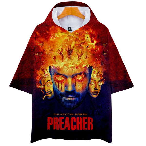 Unisex Preacher T-Shirt 3D Printed Hooded Short Sleeve Pullover Tee Tops