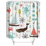 Nautical Shower Curtain Pastel Colored Composition of Lighthouse Sailboat Fish Shells Octopus and Anchor Polyester Bathroom Decor Set