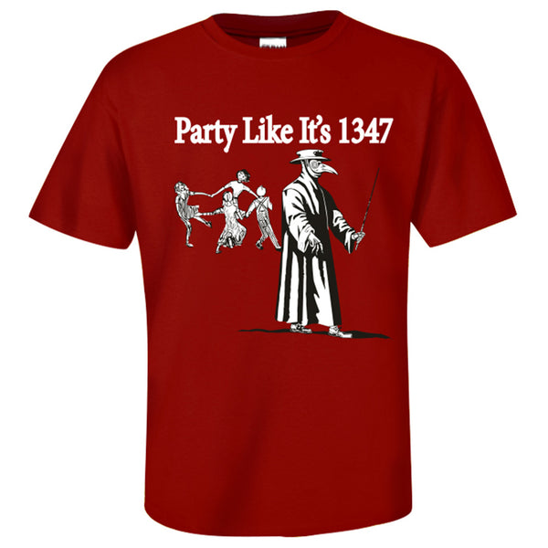 Unisex Plague Doctor Summer O-neck T-shirt Party Like It's 1347 Printed Red Casual Street Shirts