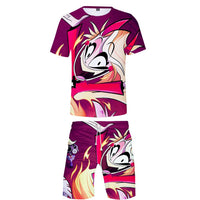 Unisex Hazbin Hotel T Shirt Sets Summer Short Sleeve T-shirt Shorts 2 Pieces Sets Casual Clothes