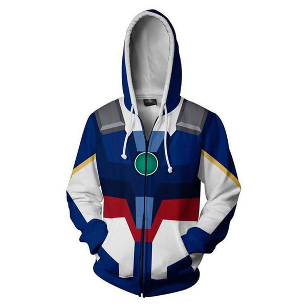 Unisex Mobile Suit Gundam Hoodie 3D Printed Zip Up Sweatshirts Cosplay Costume