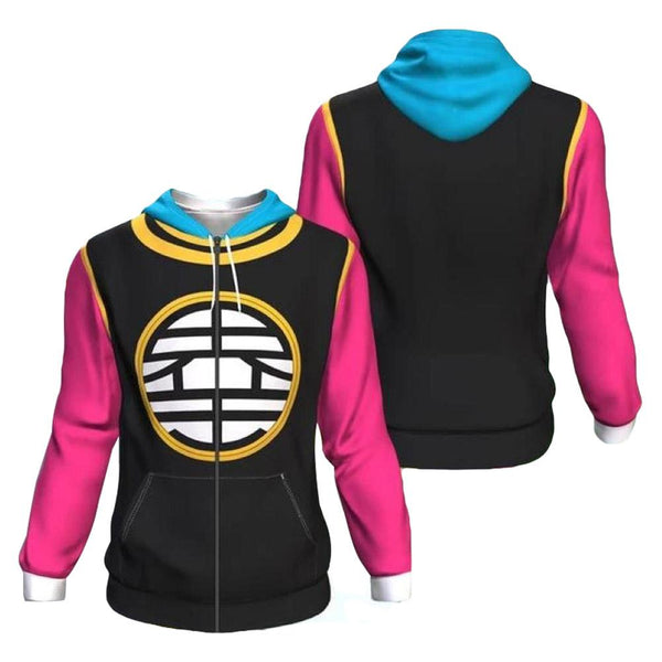 Unisex North Kaiō Hoodies Dragon Ball Z Zip Up 3D Print Jacket Sweatshirt