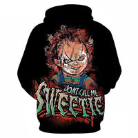 Unisex Horror Movie Hoodies Child's Play Chucky Printed Pullover Jacket Sweatshirt