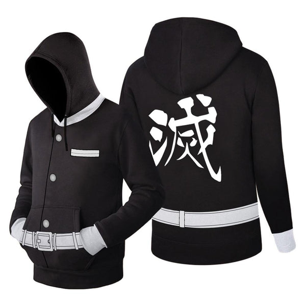 Unisex Demon Slayer: Kimetsu no Yaiba Hoodie Kisatsutai Uniform Cosplay Hooded Pullover Sweatshirt Cosplay Costume