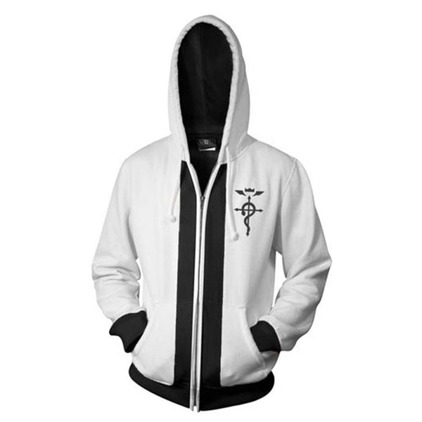 Unisex Edward Elric Hoodies Fullmetal Alchemist Zip Up 3D Print Jacket Sweatshirt