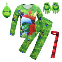 Kids Grinch Cosplay Costume How the Grinch Stole Christmas Cosplay Shirt Outfit Set