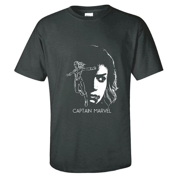 Unisex Movie Merchandise T-shirt Captain Marvel Carol Danvers Printed Short Sleeve Shirt