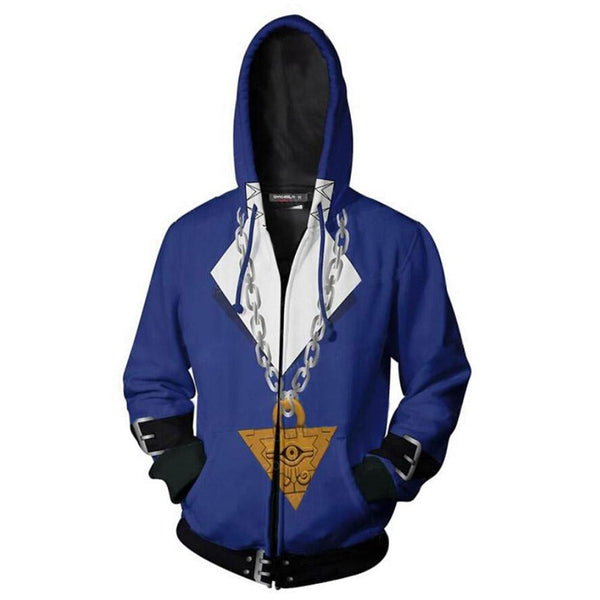Unisex Fudo Yusei Hoodies Yu-Gi-Oh! Zip Up 3D Print Jacket Sweatshirt